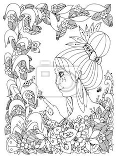 Vector illustration zen tangl girl child with freckles looks at ladybug in a… Coloring Pages For Girls, Coloring Books, Flower Doodles, Flower Frame, Freckles, Ladybug, Royalty Free Stock Photos, Tapestry, Black And White