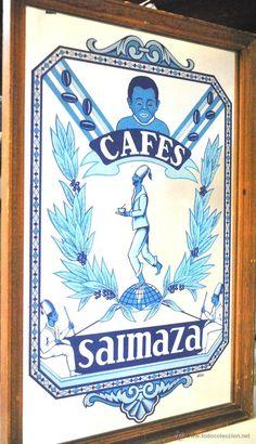 ESPECTACULAR ESPEJO PUBLICITARIO DE CAFES SAIMAZA. (Coleccionismo - Carteles y Chapas Esmaltadas y Litografiadas)