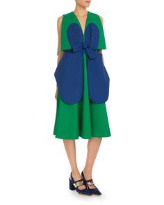 Sleeveless Bicolor Bow Dress, Green/Blue