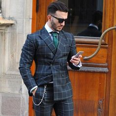 s suits, gq style, design layouts, brochure design, f Gq Style, Men Style Tips, Mode Masculine, Traje A Rigor, Suit Combinations, Plaid Suit, Pinstripe Suit, Herren Outfit, Men's Suits