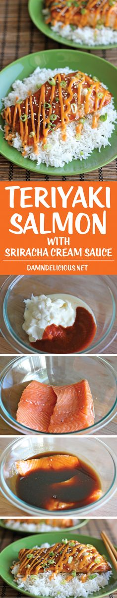 Teriyaki Salmon with Sriracha Cream Sauce - This is positively excellent. Made without the high-cal cream sauce, and it was great on its own! An easy dish with homemade teriyaki sauce and a sweet and spicy Sriracha cream sauce! Salmon Recipes, Fish Recipes, Seafood Recipes, Cooking Recipes, Healthy Recipes, Fancy Recipes, Recipies, Healthy Breakfasts, Healthy Meals