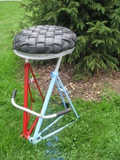 My head is spinning with all these cool ideas... Bar Stools - bicycle parts - the recycler