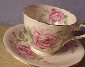antique pink rose tea cup and saucer set, vintage 1930's Aynsley English bone china, unique