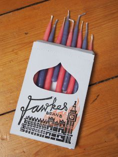 Fawkes Brand handmade candles in hand-printed box  by KathleenItch