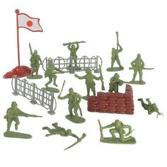 Plastic Army Men Japanese Soldier Figures 38 piece Play Set 54mm (1/32nd scale) by Hingfat by Hingfat. $9.94. Sand Bag Bunker, Japanese Flag, 2 Barbed Wire Fences. Packaging: Plastic Bag with Header Card. Size: Figures stand up to 2-3/16 inches tall (54mm). Scale: Approximately 1/32nd. 34 Light Green Plastic Japanese Soldiers. Japanese Soldier 38 piece set includes, 34 soldiers in about 12 different poses, a sand bag bunker, two 4 inch barbed wire fences, and 4 inch flag with...