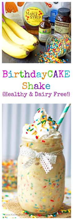 Start your morning off right with a {healthy} Birthday Cake Protein Shake! Start your morning with a {healthy} Birthday Cake Protein Shake! Protein Smoothies, Protein Snacks, Pancakes Protein, Smoothie Proteine, Healthy Protein Shakes, Protein Shake Recipes, Smoothie Recipes, Diet Recipes, Fruit Smoothies