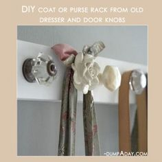 My FAVORITE...using old door knobs to hang coats, towels, etc...