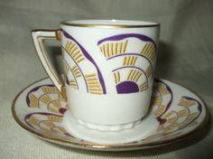 Art deco Limoges porcelain coffee cup