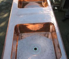 Photos of French antiques. A copper bath, brass & steel lanterns plus wrought ironwork before, during & after restorations or repairs all by DMark Concepts. Copper Bath, Antique Restoration, Antique Copper, Wrought Iron, French Antiques, Basin, Lanterns, Photo Galleries, Steel