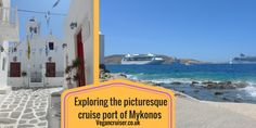 Picture perfect cruise port of call on Eastern Mediterranean: Mykonos town on the  small island of Mykonos, located between Greece & Turkey.