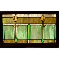 simple, yet elegant and cheerfully colored american craftsman style bungalow transom window. The window functioned as a transom, flanking a built-in nook. The chicago bungalow from which it came, was built in or around 1921. measures 39 24 inches. $495