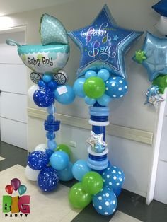 Globos bebe!!! Baby balloons!! Baby Boy Balloons, Baby Shower Balloons, Baby Shower Parties, Baby Shower Themes, Baby Boy Shower, Blue Balloons, Balloon Centerpieces, Balloon Decorations, Balloon Pillars