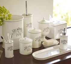 Black & White Apothecary Bath Accessories #potterybarn