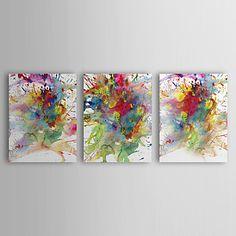 peinture à l'huile abstraite peinture colorée avec étiré ensemble de 3 toiles peintes à la main cadre – USD $ 94.99