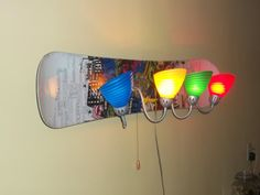 Upcycled Repurposed Snowboard Wall Lamp by ReGenR8 on Etsy,