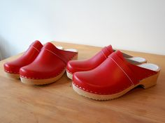 red swedish clogs