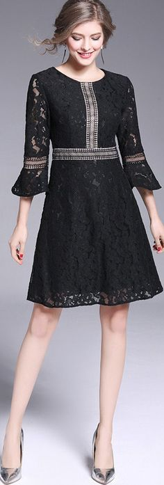 Black Flare Sleeves Lace Dress
