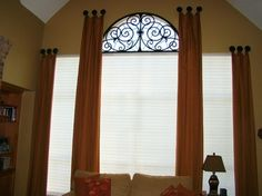 Home sweet home. Custom Drapery & Tableaux Faux Iron eclectic window treatments The Vital Role of Eclectic Window Treatments, Mediterranean Window Treatments, Arched Window Treatments, Half Circle Window, Half Moon Window, Curtains For Arched Windows, Arch Windows, Round Windows, Bay Windows