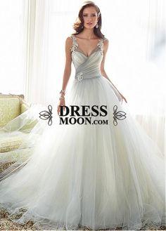 Elegant Tulle V-neck Neckline Natural Waistline A-line Wedding Dress With Beaded Lace Appliques - Ball Gown Dresses - Wedding Dresses - Weddings