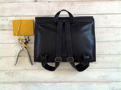 ON SALE 15% Backpack leather Black backpack Satchel by EMILISTUDIO