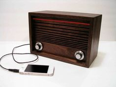 Wooden I phone speaker and FM radio by MrERegal on Etsy, $185.00