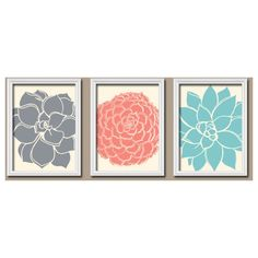 ★Grey Coral Aqua Cream Ivory Flower Burst Dahlia Bloom Petals Artwork Set of 3 Trio Prints Wall Decor Abstract Art Picture Bathroom Bedroom. ★Includes 3 unfram…