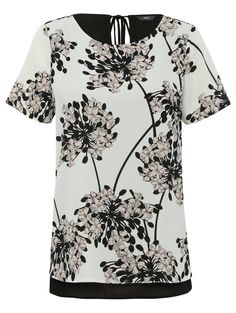 M&Co. Women Split back floral print top