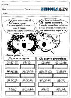 Atividades 3º ano – PORTUGUÊS Atividades de português para o 3° ano do ensino fundamental, com questões do tipo: escolha 3 palavras com T e D do texto, organize as sílabas para escrever os nomes das figuras, forme palavras com acento agudo e acento circunflexo e use as sílabas do quadro para completar as palavras. …