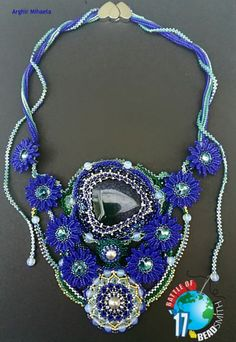 "My proposal for this contest is inspired by a stanza of love poetry ""Blue Flower"" by Mihai Eminescu Crochet Necklace, Beaded Necklace, Necklaces, Beaded Embroidery, Blue Flowers, Beads, Beadwork, Proposal, Battle"