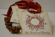 Home made gift tags. Adore these. Would be perfect larger on a Christmas card.