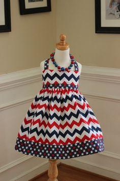 4th of July dress girls halter chevron dress by LightningBugsLane, $40.00