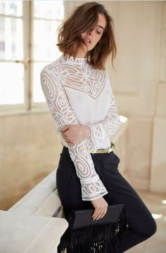 Silk blouse, long sleeves with tulip cuffs | REGENCE blouse | Anne Fontaine
