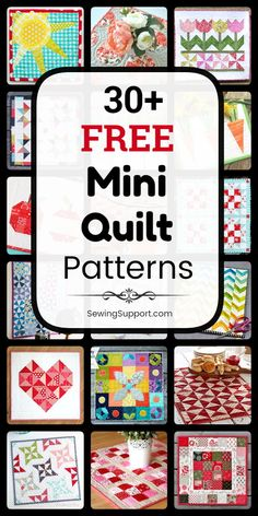 A collection of over 30 free mini quilt patterns, tutorials, and diy sewing projects. Small Quilt Projects, Diy Sewing Projects, Quilting Projects, Easy Quilts, Small Quilts, Mini Quilts, Hanging Quilts, Quilted Wall Hangings, Mini Quilt Patterns