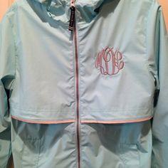 Monogrammed New Englander Aqua Rain Jacket by TheSouthernPeach
