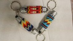 Beaded mini flashlight key chains