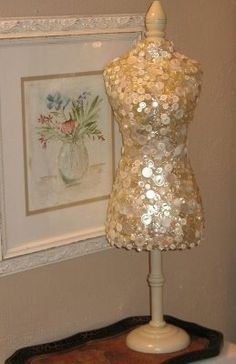 button covered dress form