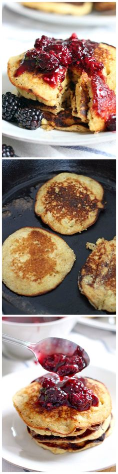 These honey cornmeal pancakes with blackberry maple syrup are 100% ...