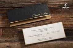 Erdem Davetiye Black Wedding Invitations, Wedding Invitation Samples, Elegant Invitations, Wedding Invitation Design, Invite, Wedding Frames, Wedding Cards, Gold Liner, Black Envelopes