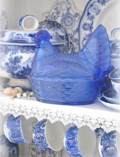 Beautiful Blue Glass Covered Dish