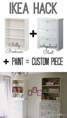 This is AWESOME! Using basic inexpensive Ikea furniture and paint and stack them for the look of a totally custom piece! This is AWESOME! Using basic inexpensive Ikea furniture and paint and stack them for the look of a totally custom piece! Ikea Furniture, Furniture Projects, Custom Furniture, Furniture Makeover, Home Projects, Painted Furniture, Furniture Design, Custom Desk, Furniture Dolly