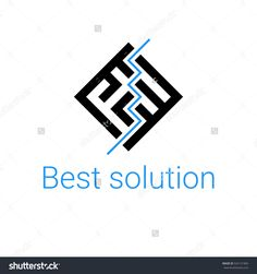 logo labyrinth. Modern vector symbol maze. icon for logotype game, quest, corporate branding, business identity in black color with text Best solution and the blue line maze solution. way search