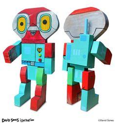 Wooden Robot Art by David Sones @ Pickledog