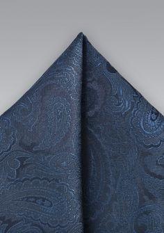 Ziertuch Paisleymuster italienische Seide nachtblau rauchblau