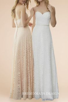 43744714d6 Apricot   Ivory Strapless Sweetheart Lace Long Bridesmaid Dresses. Cheap Red  Bridesmaid DressesLace Bridesmaids ...