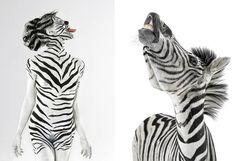 Modelo Jasmina repete pose de uma zebra. (Foto: Lennette Newell/Bacroft USA/Getty Images)