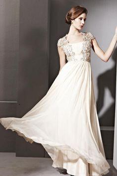 A-line Square Neck Ruched Applique Beige Tencel Evening Dress