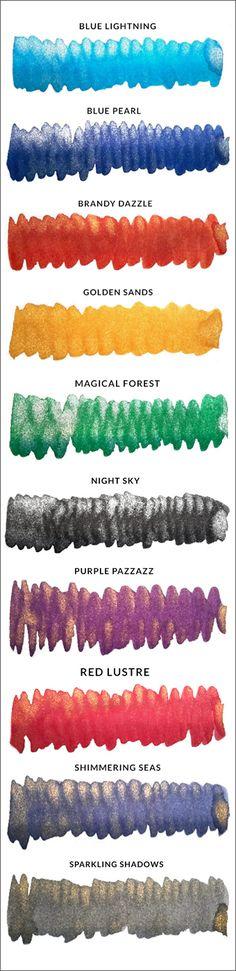 Diamine Shimmering Fountain Pen Ink Set (10 colours) - Ink Bottle - Fountain Pen - Ink & Refills (by type) - La Couronne du Comte