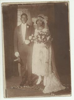 Vintage African-American bridal couple
