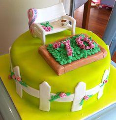 Rose garden cake ~ garden bench ~ gardener's cake