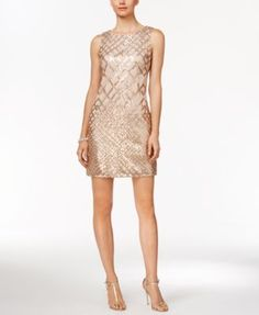 From day to evening, an intensifying grid of shimmering sequins completely transforms this easy-to-wear sheath silhouette from Vince Camuto. | Polyester/spandex; lining: polyester | Dry clean | Import